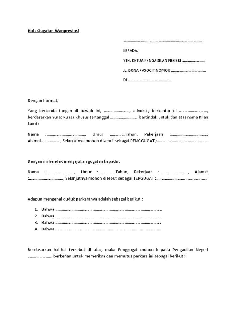 Contoh Surat Gugatan Wanprestasi Resepmenuhargacom
