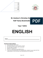 2016 year 7 half yearly english  2