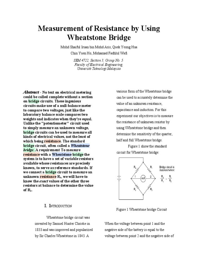 Wafie Lab Report Resistor Amplifier Wheatstone Bridge Wiring Diagram