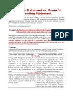 Objective Statement vs. Powerful Branding Statement