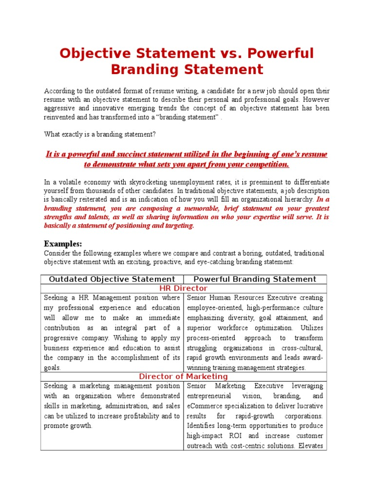 Objective Statement Vs Powerful Branding Statement Strategic 1512128049?vu003d1  Objective Statement Vs Powerful  Resume Branding Statement Examples