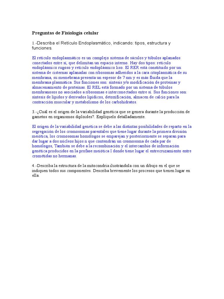 Preguntas De Fisiología Celular