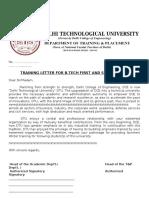 Training Letter I II Year