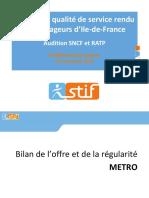 Bilan de la qualité de service rendu aux voyageurs d'Ile-de-France