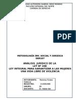 ANÁLISIS  JURÍDICO DE LA LEY Nº 348 LEY INTEGRAL PARA GARANTIZAR A LAS MUJERES UNA VIDA LIBRE DE VIOLENCIA.docx