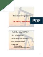 Security of Energy Supply Week 5