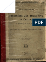 List of Inscriptions on Tombstones-And-monuments-In-ceylon c. m. Printed Cottle Governmknt Printers Ceylon 1911
