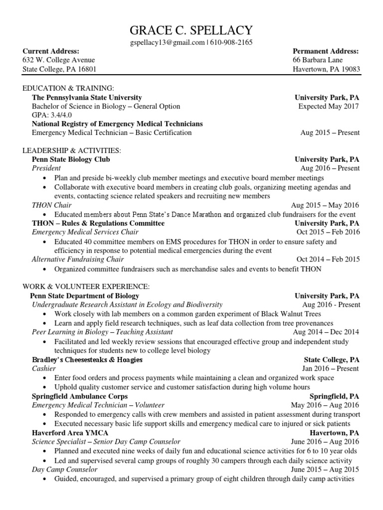 Grace Spellacy Resume Emergency Medical Services Emergency