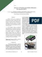 Modelado y Control de Un Propulsor Para Robot Submarino Tele-operado (ROV)