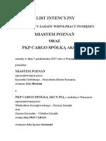 51007 List Intencyjny z Pkp Cargo