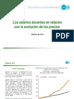 Cifra Los Salarios Docentes en Relacion Con La Evolucion de Los Precios 201202
