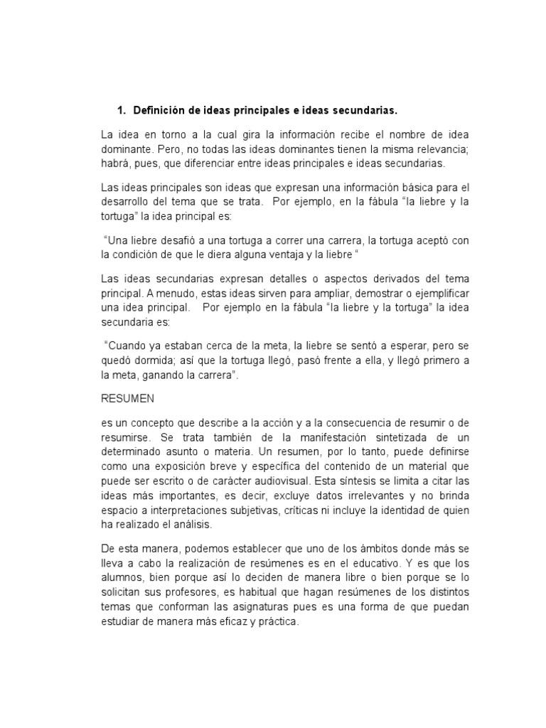 Lujoso Resumen Idea Principal Y Secundaria Molde - Colección De ...