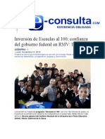 14.11.2016 e-consulta.com - Inversión de Escuelas al 100, confianza del gobierno federal en RMV- Inifed