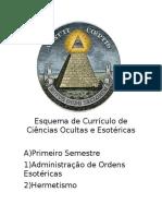Esquema de Currículo de Ciências Ocultas e Esotéricas
