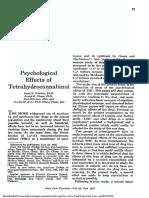 Archives of General Psychiatry Volume 22 Issue 2 1970 [Doi 10.1001%2Farchpsyc.1970.01740260001001] Waskow, Irene E. -- Psychological Effects of Tetrahydrocannabinol