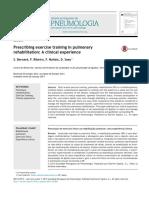 La Prescripción de La Práctica de Ejercicio en La Rehabilitación Pulmonar
