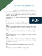Extensiones de Archivo Más Utilizados en Excel