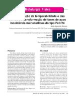 Caracterização Da Temperabilidade e Das Curvas de Transformacao de Fases de Aços Inoxidáveis Martensiticos Do Tipo FeCrNi