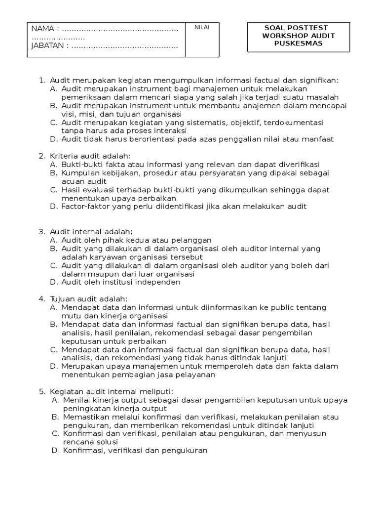 Pre Test Audit Internal