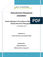 Senior Manager's Perception of the Practice of Human Resource Management