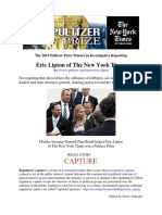 Eric Lipton-NYT 2015 Pulitzer Prize Winner in Investigative Reporting