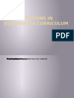 Considerations in Designing a Curriculum