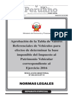 Tabla de Valores Para Vehiculos 2016
