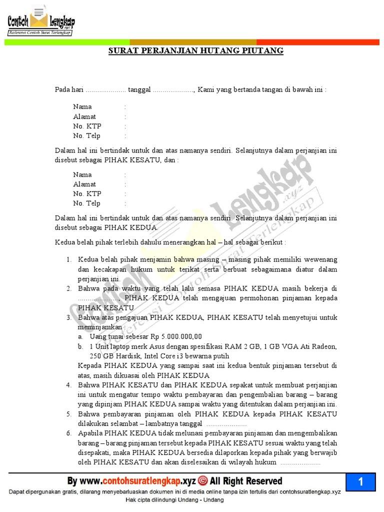 Surat Perjanjian Pinjaman Uang Dengan Jaminan Sertifikat ...