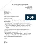 Sample Deferred Exam Letter