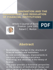 innovation and regulations of financial institutions