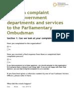 Parliamentary Ombudsman Complaint 15 Nov 2016