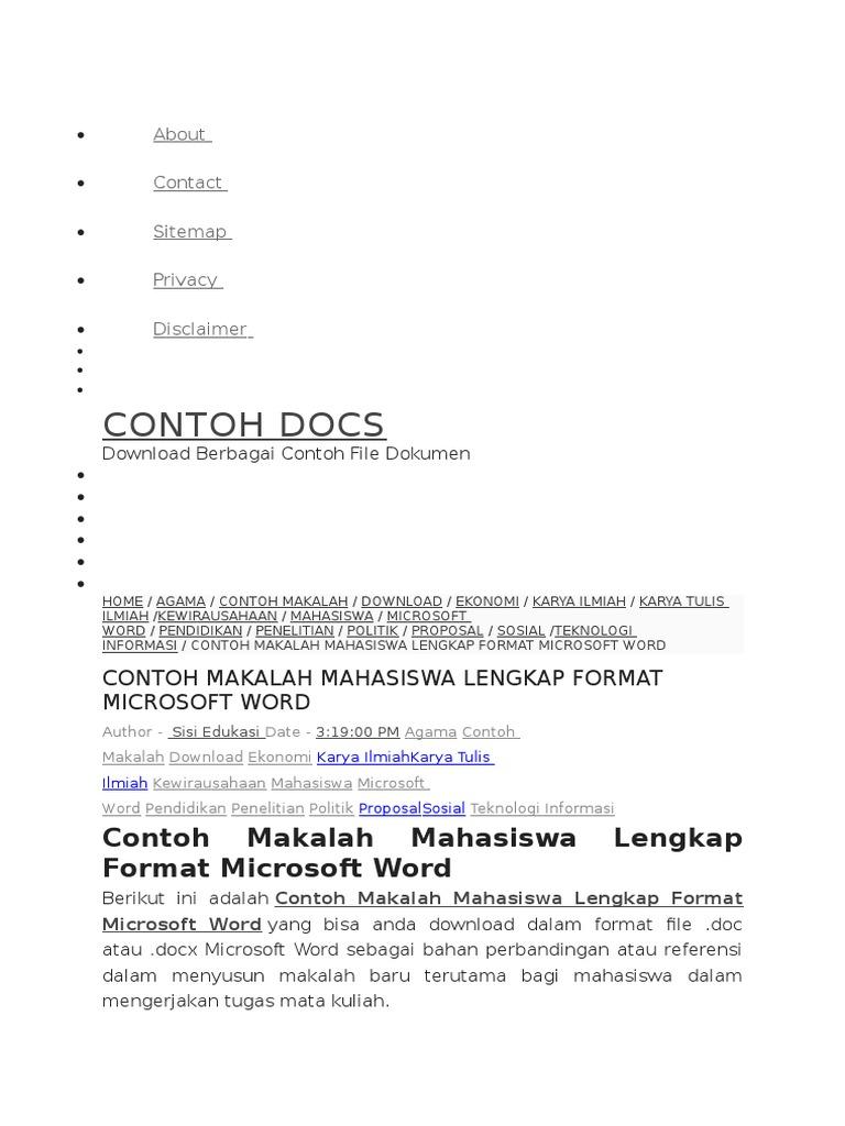 Contoh Makalah Penelitian Sosial Doc Ljmflnjl Info