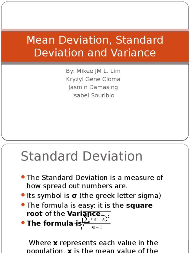 Mean Deviation Standard Deviation And Variance Standard Deviation