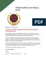 Winners for 2015 Palanca Award
