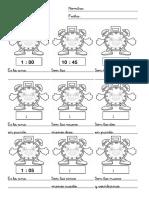 Fichas Matematicas Relojes Cinco Minutos