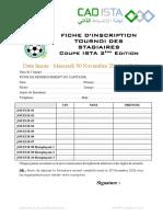 Fiche d Inscription Coupe ISTA 2ème Édition 2017