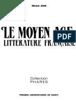ZINK,Le Moyen Age,Litterature Francaise