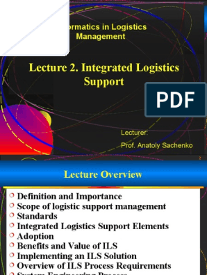 Lec 2 Integrated Logistics Support_fin_1 ppt | Reliability