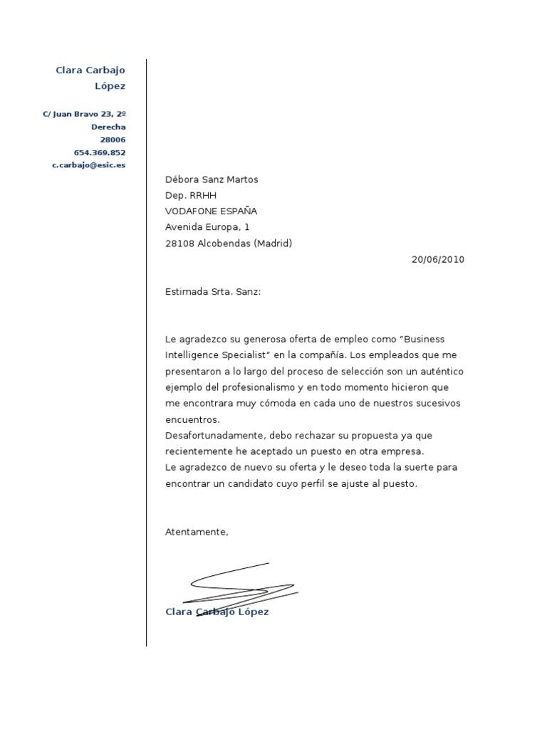 Ejemplo Carta Para Rechazar Una Oferta