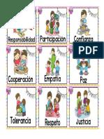 Loteria de Valores para niños de primaria