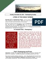 Pastor Bill Kren's Newsletter - November 20, 2016