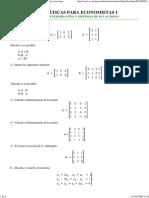 Problemas de Matrices, Determinantes y Sistemas de Ecuaciones
