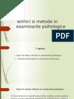 Tehnici Si Metode in Examinarile Psihologice