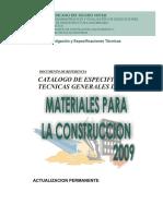 Catálogo de Especificaciones Técnicas de Materiales Para La Construccion