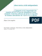 Rapport de Me Fannie Lafontaine, observatrice civile indépendante