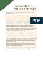 El Gobierno Modificó El Reglamento de Ley de Mype
