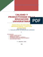Calidad y Productividad en La Educacion Universitaria