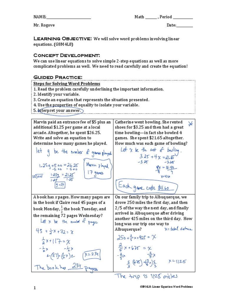 worksheet 2 Step Word Problems g8m4l8 word problems linear equations 2 cognition