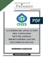 Acuerdo de Aplicación Del Convenio Multilateral Iberoamericano de Seguridad Social
