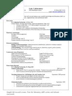 Laboratory Resume